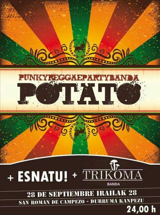 Cartel del concierto de Potato para las fiestas de San Román de Campezo